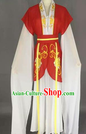 Chinese Ancient Maidservants Embroidered Red Dress Traditional Peking Opera Court Maid Costume for Women