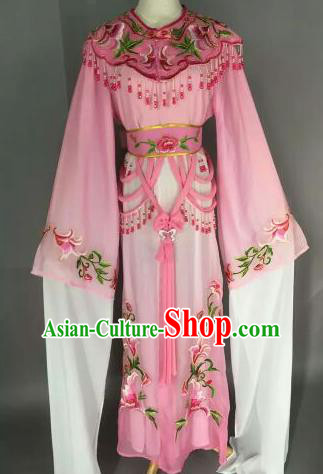 Chinese Ancient Court Princess Embroidered Pink Dress Traditional Peking Opera Artiste Costume for Women