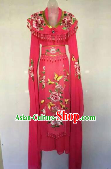 Chinese Ancient Peri Embroidered Rosy Dress Traditional Peking Opera Artiste Costume for Women