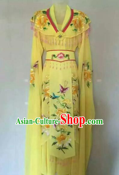 Chinese Ancient Peri Embroidered Yellow Dress Traditional Peking Opera Artiste Costume for Women