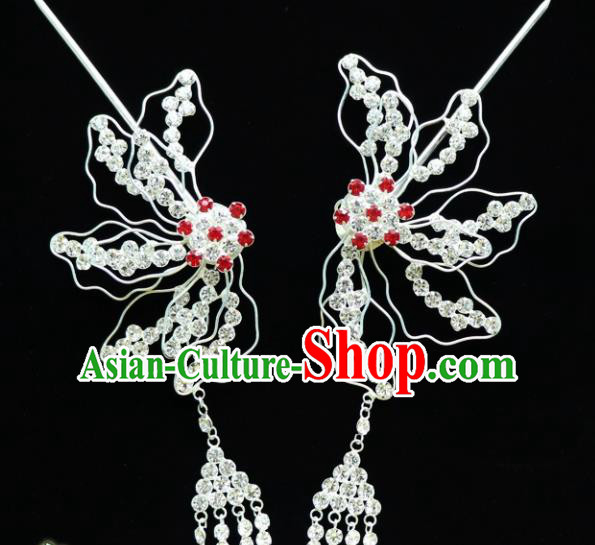 Chinese Ancient Princess Crystal Phoenix Tassel Hairpins Traditional Peking Opera Artiste Hair Accessories for Women