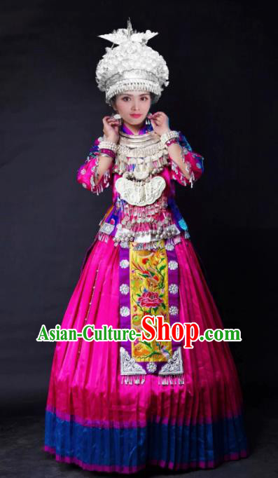 Chinese Traditional Ethnic Costume Miao Nationality Folk Dance Wedding Rosy Dress for Women