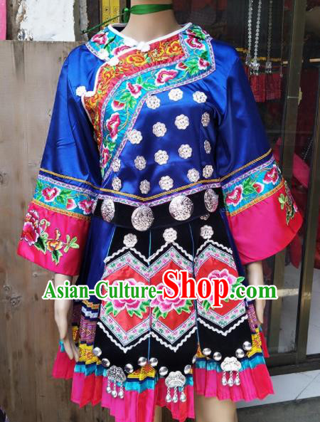 Chinese Traditional Hmong Ethnic Costume Miao Nationality Folk Dance Embroidered Blue Dress for Women