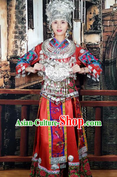 Chinese Traditional Hmong Ethnic Wedding Costume Miao Nationality Folk Dance Dress and Headdress for Women
