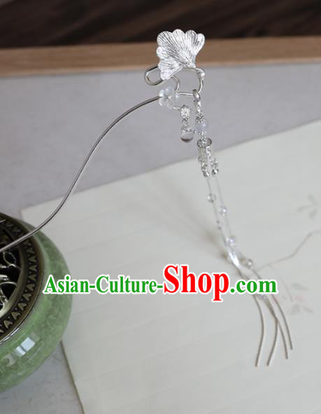 Chinese Traditional Hanfu Hair Accessories Ginkgo Leaf Hair Clip Ancient Princess Tassel Hairpins for Women