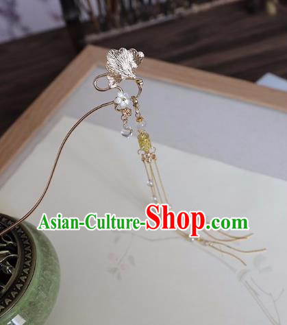 Chinese Traditional Hanfu Hair Accessories Golden Ginkgo Leaf Hair Clip Ancient Princess Tassel Hairpins for Women