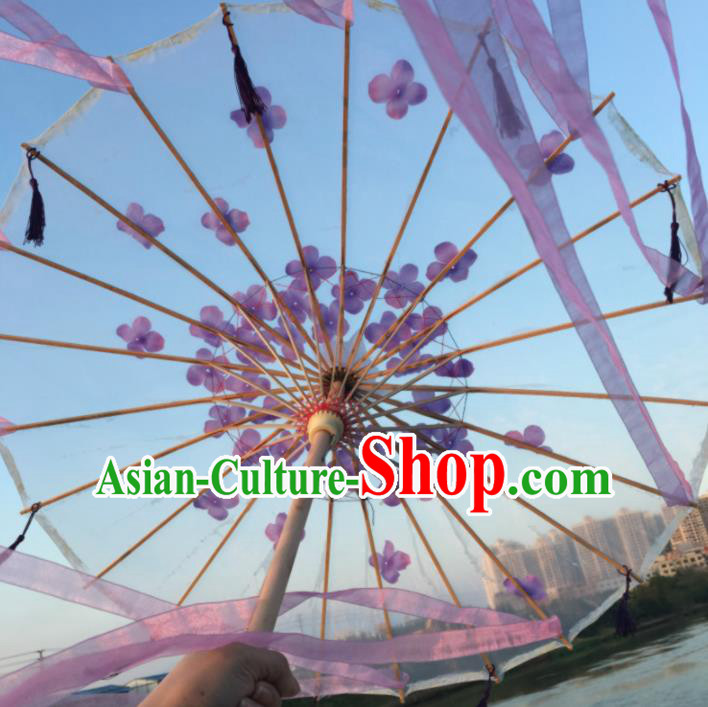Chinese Ancient Princess Purple Ribbon Umbrella Traditional Handmade Silk Umbrellas for Women