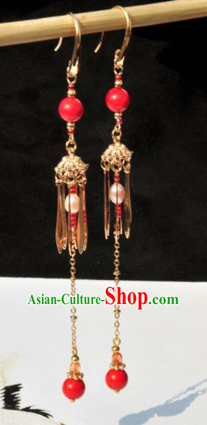 Chinese Traditional Hanfu Jewelry Accessories Ancient Princess Tassel Earrings for Women