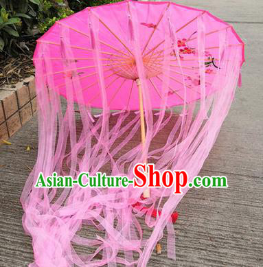 Chinese Ancient Drama Prop Princess Pink Ribbon Umbrella Traditional Handmade Umbrellas for Women