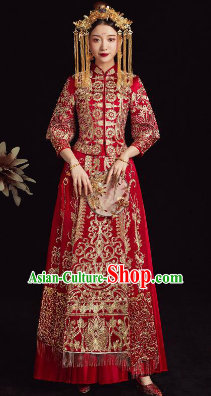 Chinese Traditional Bride Diamante Xiuhe Suit Ancient Wedding Embroidered Red Dress for Women