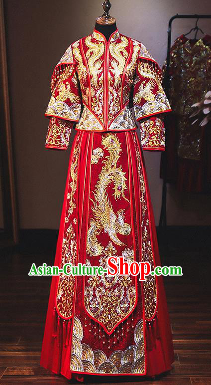 Chinese Traditional Bride Red Xiuhe Suit Ancient Wedding Embroidered Diamante Phoenix Dress for Women