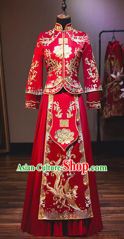Chinese Traditional Bride Costume Red Xiuhe Suit Ancient Wedding Embroidered Phoenix Peony Dress for Women