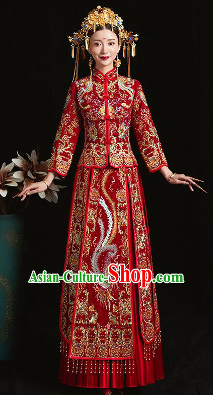 Chinese Traditional Bride Diamante Costume Embroidered Phoenix Peony Xiuhe Suit Ancient Wedding Dress for Women