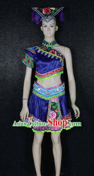 Chinese Traditional Zhuang Nationality Embroidered Royalblue Dress Ethnic Folk Dance Costume for Women