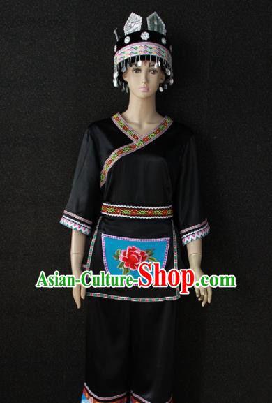Chinese Traditional Miao Nationality Embroidered Black Clothing Ethnic Folk Dance Costume for Women