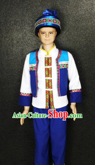 Chinese Traditional She Nationality Blue Clothing Ethnic Folk Dance Costume for Kids
