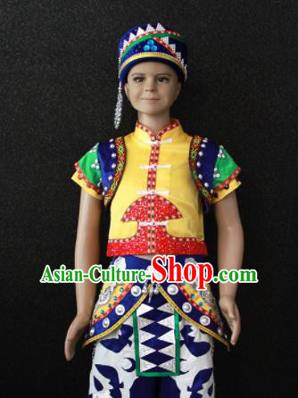 Chinese Traditional Hani Nationality Embroidered Clothing Ethnic Folk Dance Costume for Kids