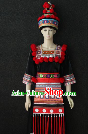 Chinese Traditional Yao Nationality Embroidered Black Dress Ethnic Folk Dance Costume for Women