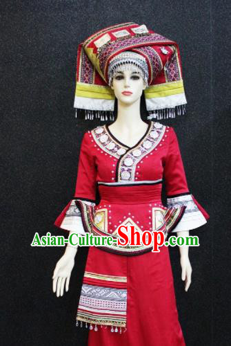 Chinese Traditional Yao Nationality Embroidered Red Dress Ethnic Folk Dance Costume for Women