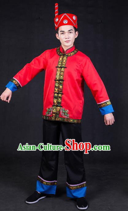 Chinese Traditional Yi Nationality Red Clothing Ethnic Bridegroom Folk Dance Costume for Men