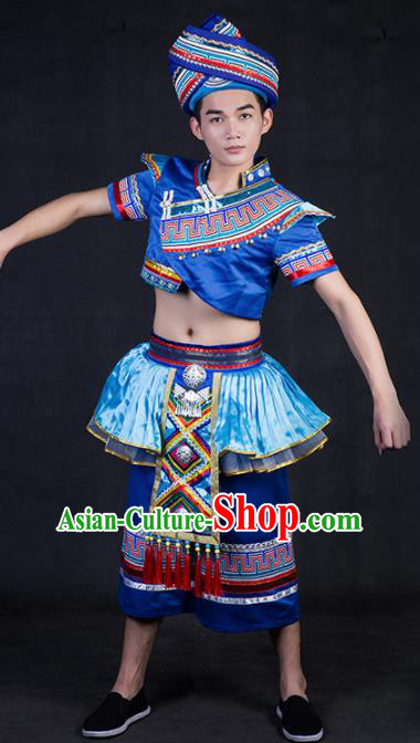 Chinese Traditional Zhuang Nationality Royalblue Clothing Ethnic Bridegroom Folk Dance Costume for Men