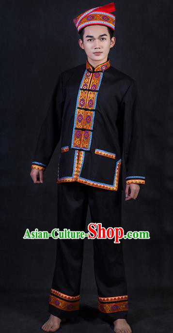 Chinese Traditional Yao Nationality Black Clothing Ethnic Festival Folk Dance Costume for Men