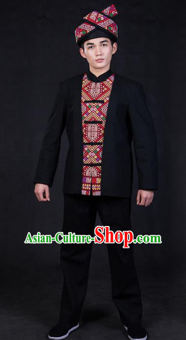 Chinese Traditional Zhuang Nationality Black Clothing Ethnic Festival Folk Dance Costume for Men