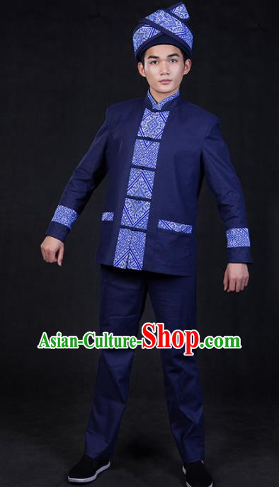 Chinese Traditional Zhuang Nationality Deep Blue Clothing Ethnic Festival Folk Dance Costume for Men