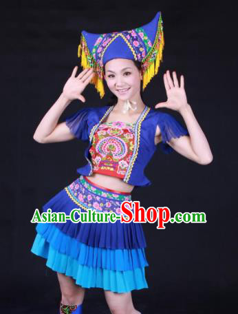 Chinese Traditional Zhuang Nationality Embroidered Blue Pleated Skirt Ethnic Folk Dance Costume for Women