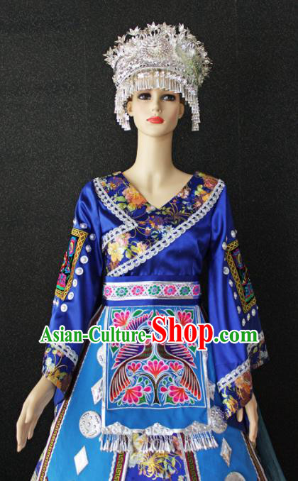 Chinese Traditional Miao Nationality Wedding Embroidered Blue Dress Ethnic Folk Dance Costume for Women