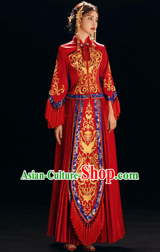 Chinese Traditional Bride Costume Xiuhe Suit Ancient Wedding Red Embroidered Butterfly Dress for Women