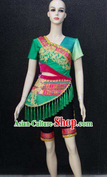 Chinese Traditional Folk Dance Costumes National Dance Green Clothing for Women