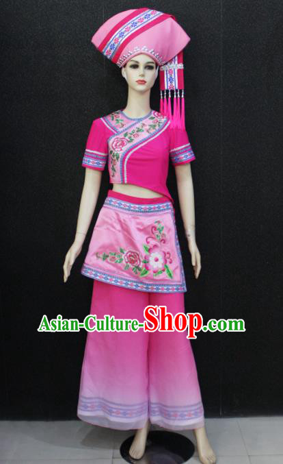 Chinese Traditional Zhuang Nationality Embroidered Pink Clothing Ethnic Folk Dance Costume for Women