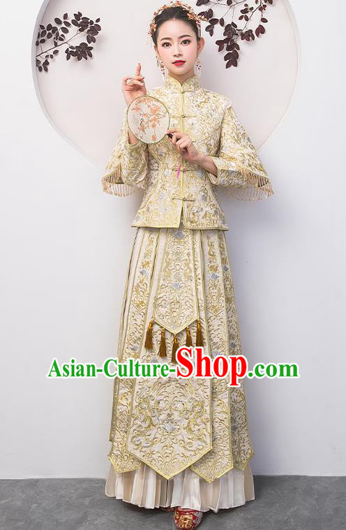 Chinese Traditional Bride Costume White Xiuhe Suit Ancient Wedding Embroidered Dress for Women