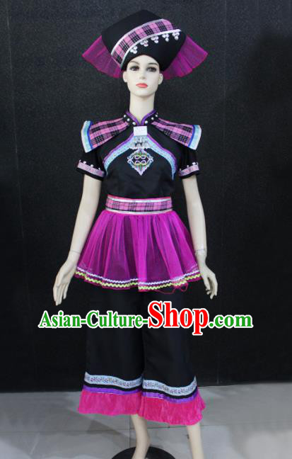 Chinese Traditional Zhuang Nationality Embroidered Clothing Ethnic Folk Dance Costume for Women