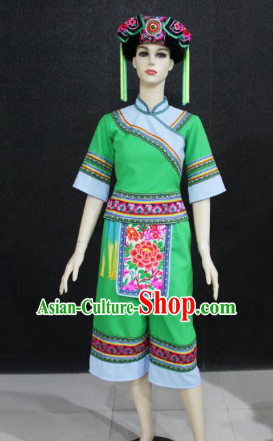 Chinese Traditional Yao Nationality Embroidered Green Clothing Ethnic Folk Dance Costume for Women