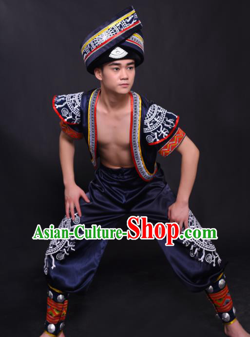 Chinese Traditional Ethnic Navy Costume Zhuang Nationality Festival Folk Dance Clothing for Men