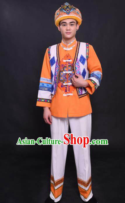Chinese Traditional Ethnic Orange Costume She Nationality Festival Folk Dance Clothing for Men