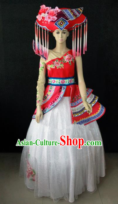 Chinese Traditional Zhuang Nationality Wedding Dress Ethnic Bride Folk Dance Costume for Women