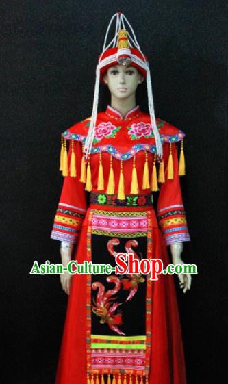 Chinese Traditional She Nationality Wedding Red Dress Ethnic Bride Folk Dance Costume for Women