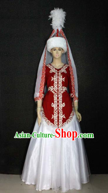 Chinese Traditional Kazak Nationality Wedding Dress Ethnic Bride Folk Dance Costume for Women