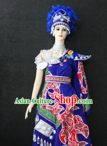 Chinese Traditional Xibe Nationality Wedding Royalblue Dress Ethnic Folk Dance Costume for Women