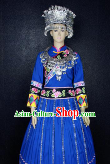 Chinese Traditional Miao Nationality Blue Dress Ethnic Bride Folk Dance Costume for Women