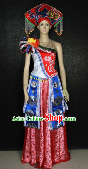 Chinese Traditional Zhuang Nationality Dress Ethnic Bride Folk Dance Costume for Women