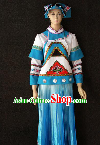 Chinese Traditional Bouyei Nationality White Dress Ethnic Bride Folk Dance Costume for Women