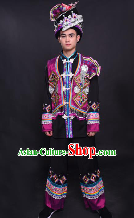 Chinese Traditional Ethnic Purple Costume Yao Nationality Festival Folk Dance Clothing for Men