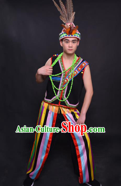 Chinese Traditional Ethnic Black Costume Gaoshan Nationality Festival Folk Dance Clothing for Men
