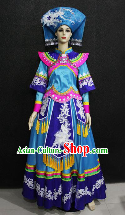 Chinese Traditional Zhuang Nationality Wedding Blue Dress Ethnic Folk Dance Costume for Women