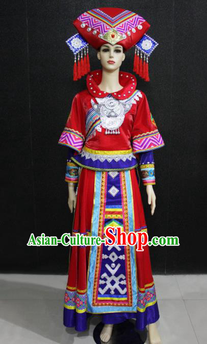 Chinese Traditional Zhuang Nationality Wedding Dress Ethnic Folk Dance Costume for Women