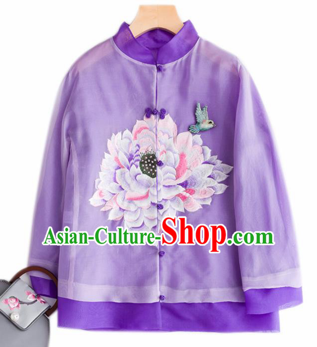Chinese Traditional National Costume Tang Suit Embroidered Purple Organza Jacket Upper Outer Garment for Women